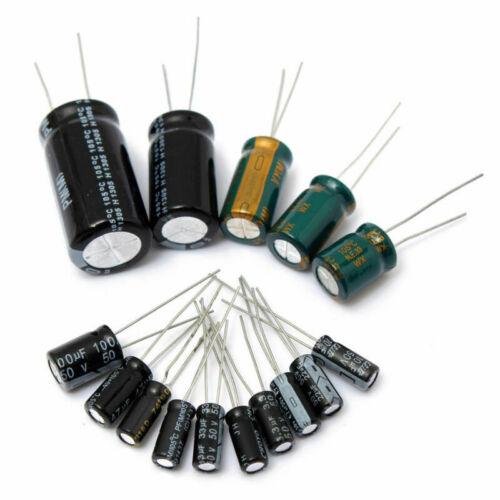 120Pcs//Set 15 Values 50V Electrolytic Capacitor Radial Capacitors 0.22UF-470UF
