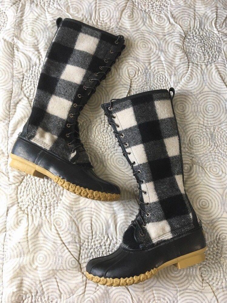 La nueva firma de lana Ll Bean bota pato alto fuera de imprenta Buffalo a Cuadros Talla 9