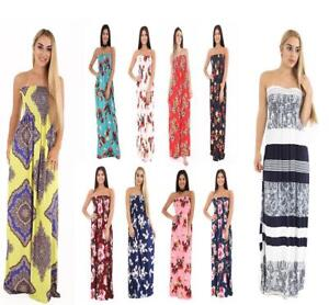 7e9c3a8432 Image is loading Ladies-Floral-Strapless-Maxi-Fancy-Dress-Sheering-Boob-