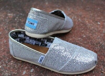 Toms Classic Youth Silver Glitter Flats