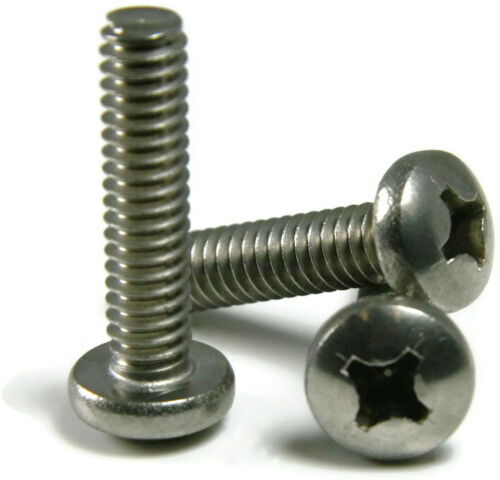 "Qty 100 Stainless Steel Phillips Pan Head Machine Screw #3-48 x 1//4/"""