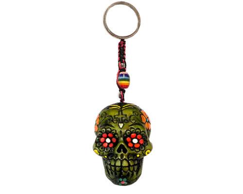 Day of the Dead Floral Sugar Skull Handmade 3D Keychain Macrame Metal Keyring