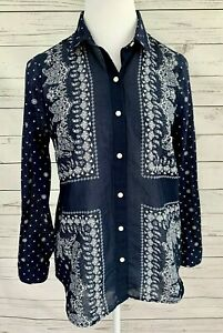 Old-Navy-Classic-Top-Womens-Small-S-Blue-Paisley-Button-Long-Sleeve-Collared