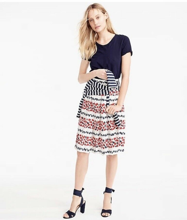 NEW  98 JCrew Pleated Skirt in Berry Print Size 6 Multi-color G1775