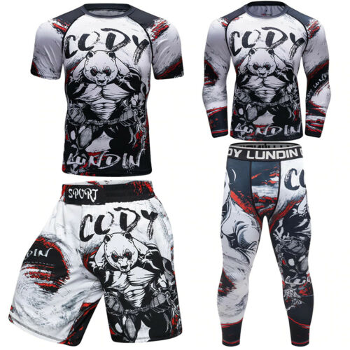 CODY LUNDIN PANDA Men BJJ MMA Rash Guard Training Compression Shirt Shorts Pants