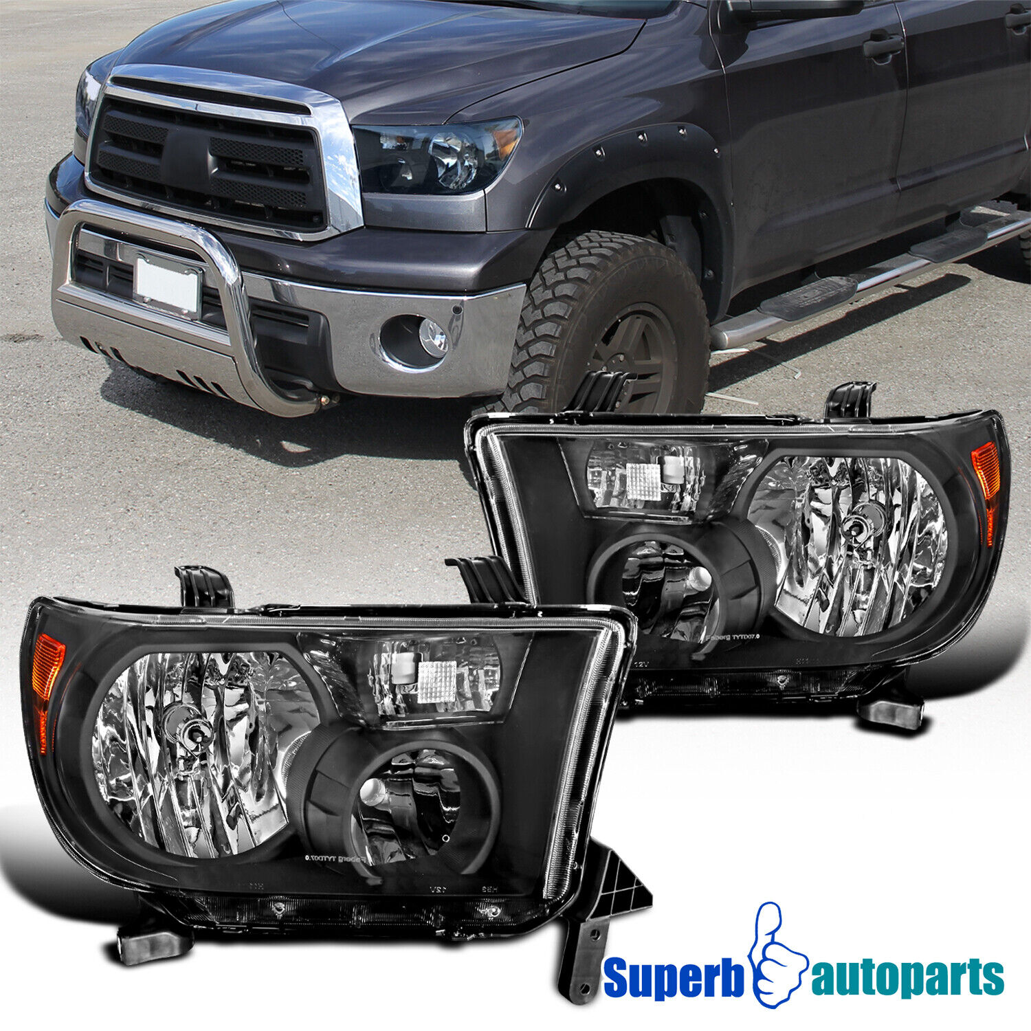Car Truck Parts Automotive For 2000 2004 Toyota Tundra Headlights Head Lamps Chrome Clear Set Pair Lh Rh