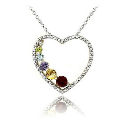 18K Gold Plated Multi Gemstone & Diamond Accent Journey Heart Necklace
