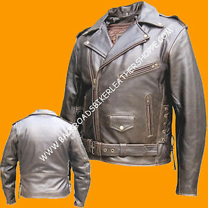 9d5aa1f36 Details about Mens Retro Brown Leather Biker Motorcycle Jacket Coat old  school style