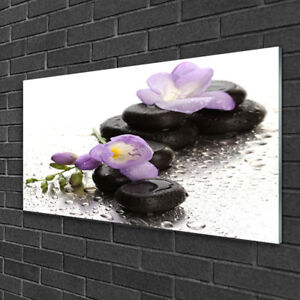 Tableau sur verre Image Impression 100x50 Art Pierres Fleurs