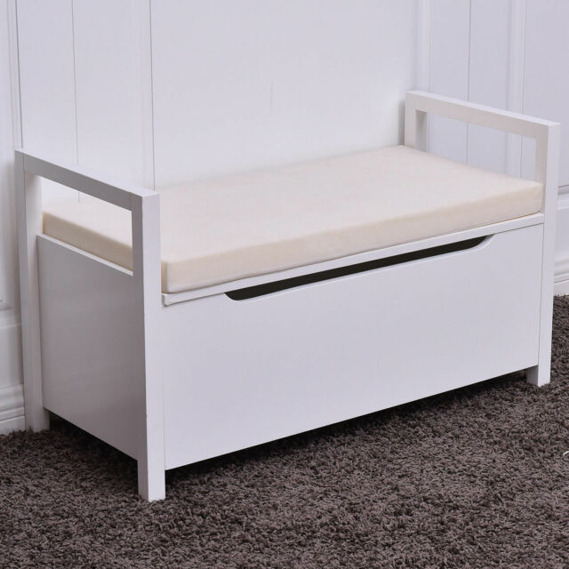 Fabulous Shoe Bench Storage Rack Cushion Seat Ottoman Bedroom Hallway Entryway White Gmtry Best Dining Table And Chair Ideas Images Gmtryco