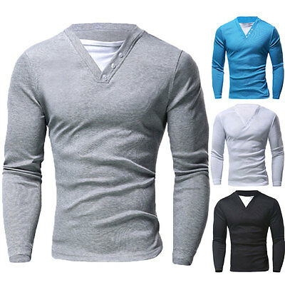 Fashion Men's Casual Slim Fit Shirts V-Neck Long Sleeve T-shirts Tee Tops Jumper