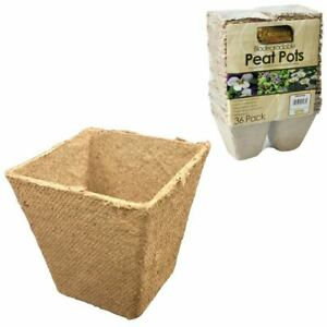 36pk-Square-Biodegradable-Fibre-Plant-Flower-Peat-Pots-Seed-Propagation-Soil
