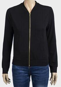 Ladies-Jersey-Bomber-Jacket-black-gold-zip-up-Miss-Selfridge-summer-sizes-6-8-10