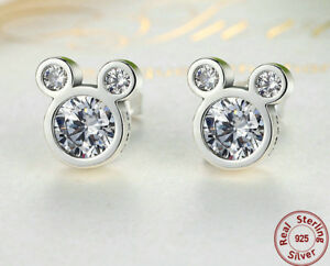 07bafaa5b1091 Details about 925 Sterling Silver Dazzling Mickey Mouse Stud Earrings -  Disney - Beautiful CZ