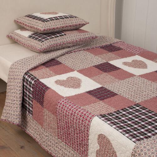 Clayre /& Fed quilt red heart patchwork couverture de jour coton paréo