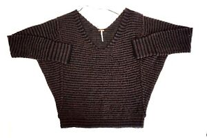 NEW-FREE-PEOPLE-Women-039-s-Brown-with-Black-Stripes-V-Neck-Long-Sleeve-Sweater-XS