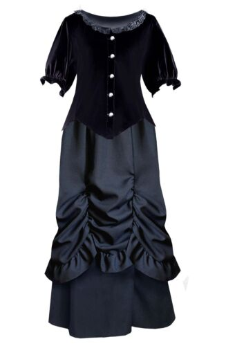 Victorian Dresses | Victorian Ballgowns | Victorian Clothing    Victorian Steampunk Gothic Civil War Renaissance Velvet Top Bustled Skirt Dress £91.99 AT vintagedancer.com