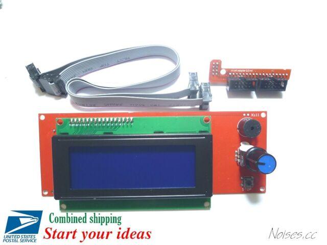 2004 LCD Display Controller w/ Adapter Mendel RAMPS 1.4 Prusa I3 3D Printer