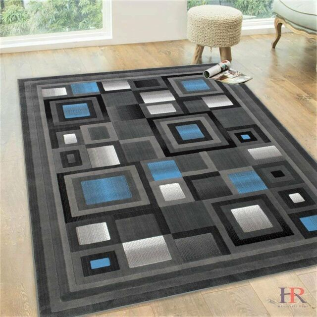 Handcraft Abstract – Blue/Silver/Gray Geometric Modern Squares Pattern Area Rug