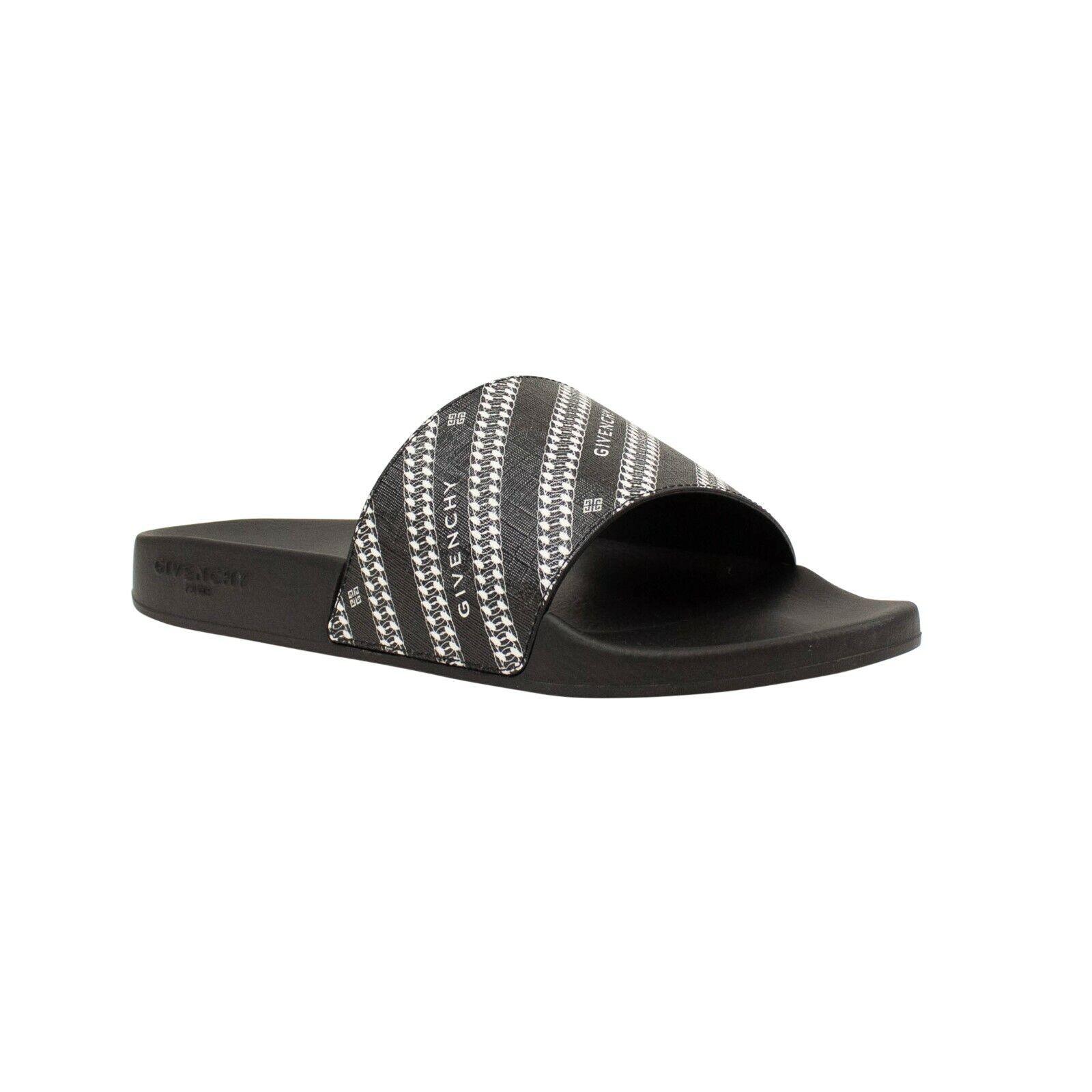 NIB GIVENCHY Black/White Buckle GIV Slide Sandals Size 8/41