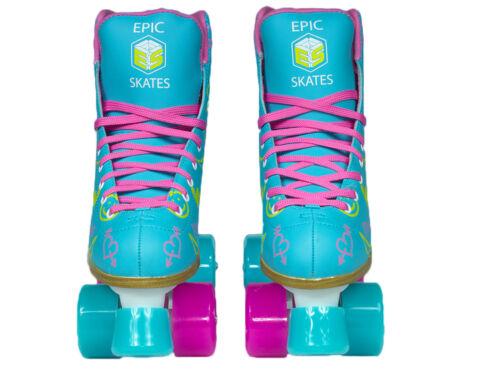 Women/'s Epic Splash High-Top Quad Roller Skates w// 2 pr of Laces Pink /& Yellow