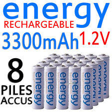8 PILES ACCUS RECHARGEABLE AA ENERGY NI-MH 3300mAh 1.2V LR06 LR6 R06 R6 ACCU