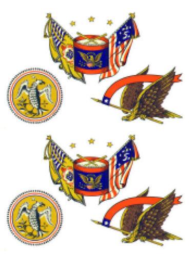 Vintage Image Patriotic Early American Eagle Drum Waterslide Decal MIS523
