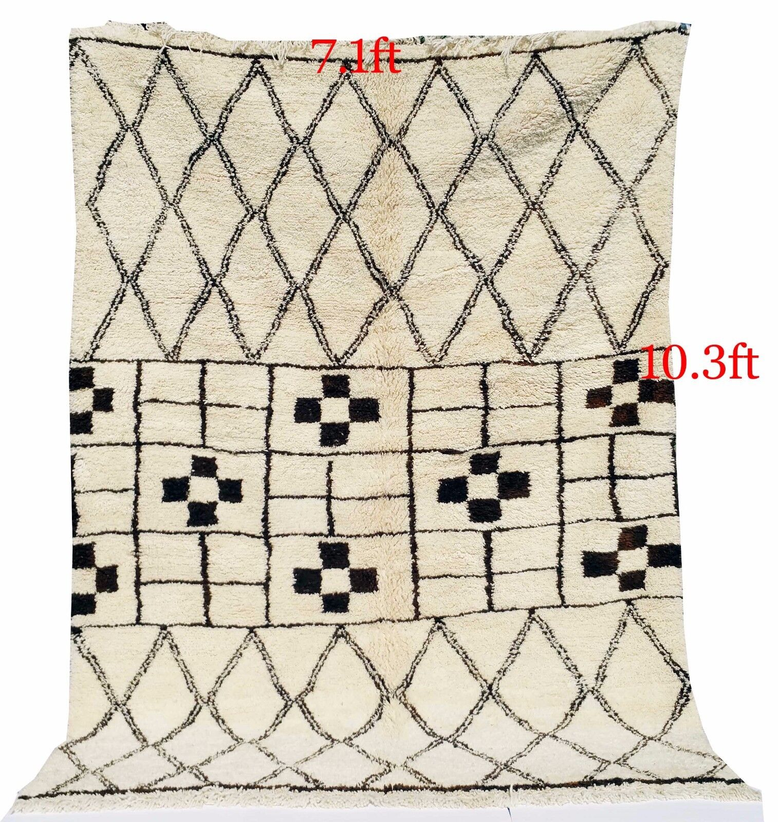 MGoldccan RUG  MGoldcco  Beni Ourain Ourain Ourain knotted carpet 100% Handmade 10.3ft x 7.1 ft 04dbf2