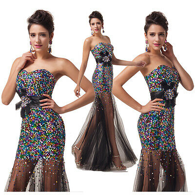 Strapless Sequins Wedding Ball Gown Prom Evening Bridesmaid Party Dresses Formal