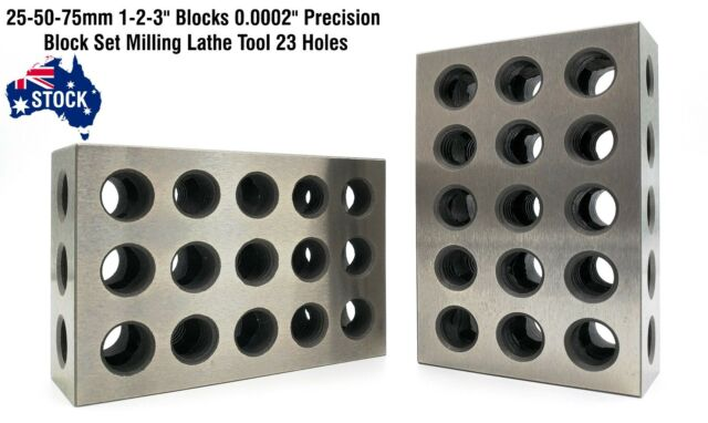 2 Pc Precision 25-50-75mm Blocks 23 Holes Parallel Clamping Block Lathe Tools