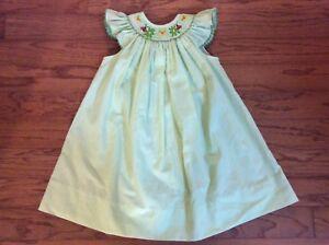 Amanda-Remembered-girl-green-striped-Smocked-Ladybug-amp-flowers-bishop-Dress-3T