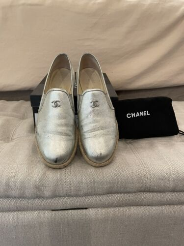 Chanel Silver Metallic Leather Shoes Moccasin Flat