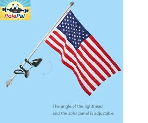 Details about Solar Powered FLAG Pole Light LED Mount flagpole No Wiring on