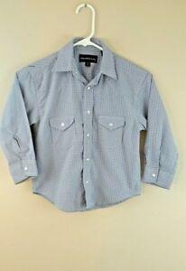 Panhandle Slim Boy/'s Blue Plaid Long Sleeve Button Up Western Shirt C0D1094 SALE
