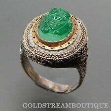 ANTIQUE CHINESE CARVED JADE FROG MICRO BEADS FLORAL SILVER ADJUSTABLE RING