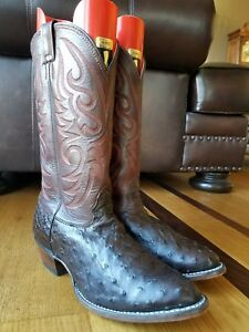 22ac1aa89f6 Details about LARRY MAHAN Men's Brown Full Quill Ostrich Leather Cowboy  Boots Wide Sz 10.5 XE