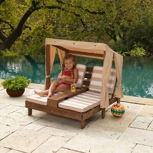 Outdoor Kids Double Chaise Lounger With Canopy Cup Holder ...