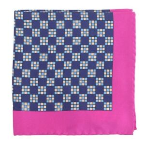 Cesare Attolini Navy Blue /& Teal Silk Pocket Square NWT Handmade Italy