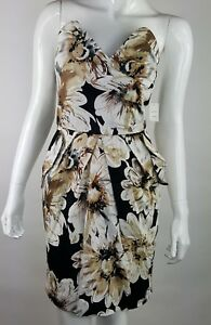 Snap-Jrs-SZ-9-Black-White-Floral-Strapless-Summer-Dress-NWT-Zip-Up-Closure