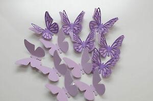 16 set 3d schmetterlinge lila wandtattoo wanddeko ebay - Wanddeko schmetterlinge 3d ...