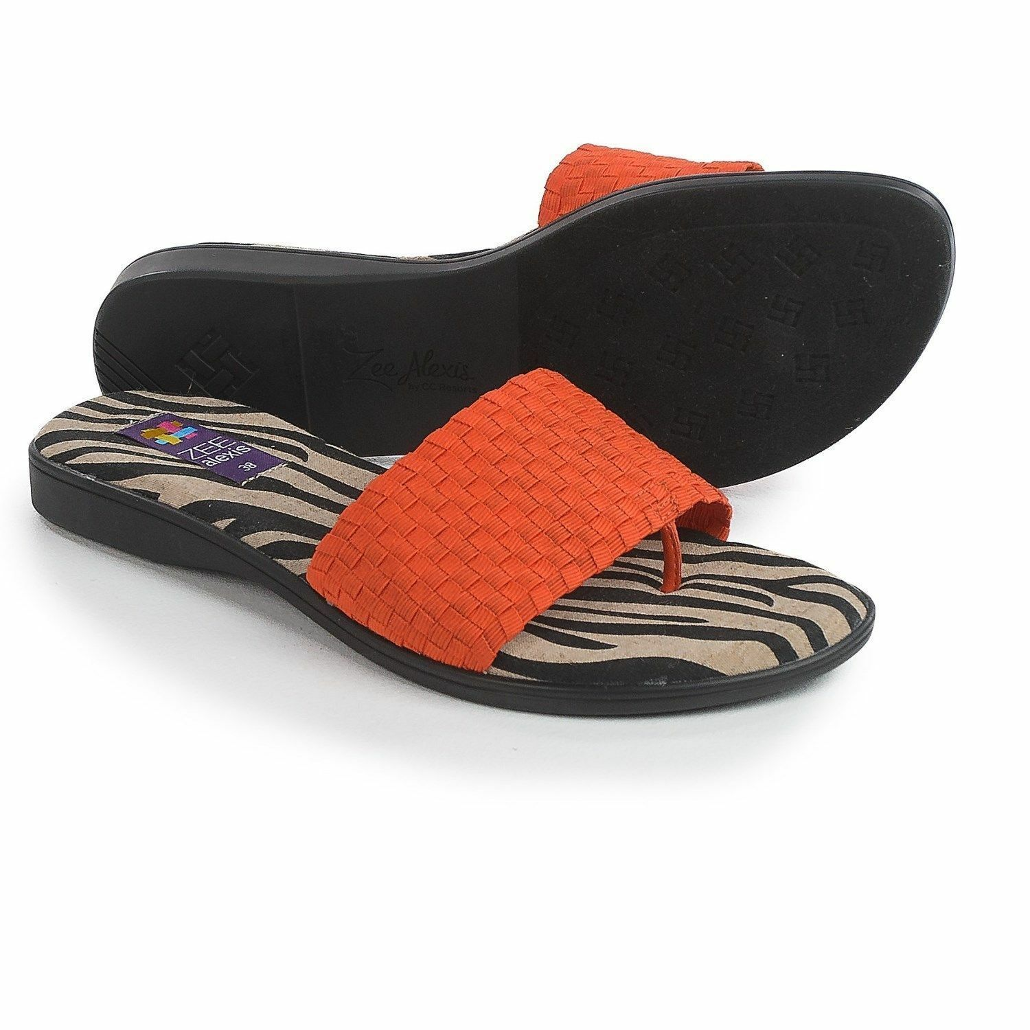 ZEE ALEXIS NIB Womens GEM Sandals Flip Flops Slides 39/ 8-8.5 PAPAYA Orange