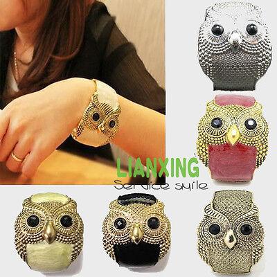 Women Girl Enamel Retro Tone Owl Open Hand Bangle Bracelet Cuff Gift New Fashion