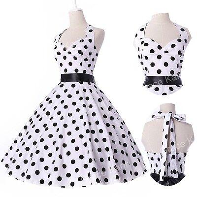 Frühling 50er Jahre Kleid Petticoat Polka Dots Vintage Kleider Somme