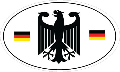 B/&W VINYL STICKER 20cm x 12cm GERMAN//GERMANY CREST OVAL WITH SMALL FLAGS IN
