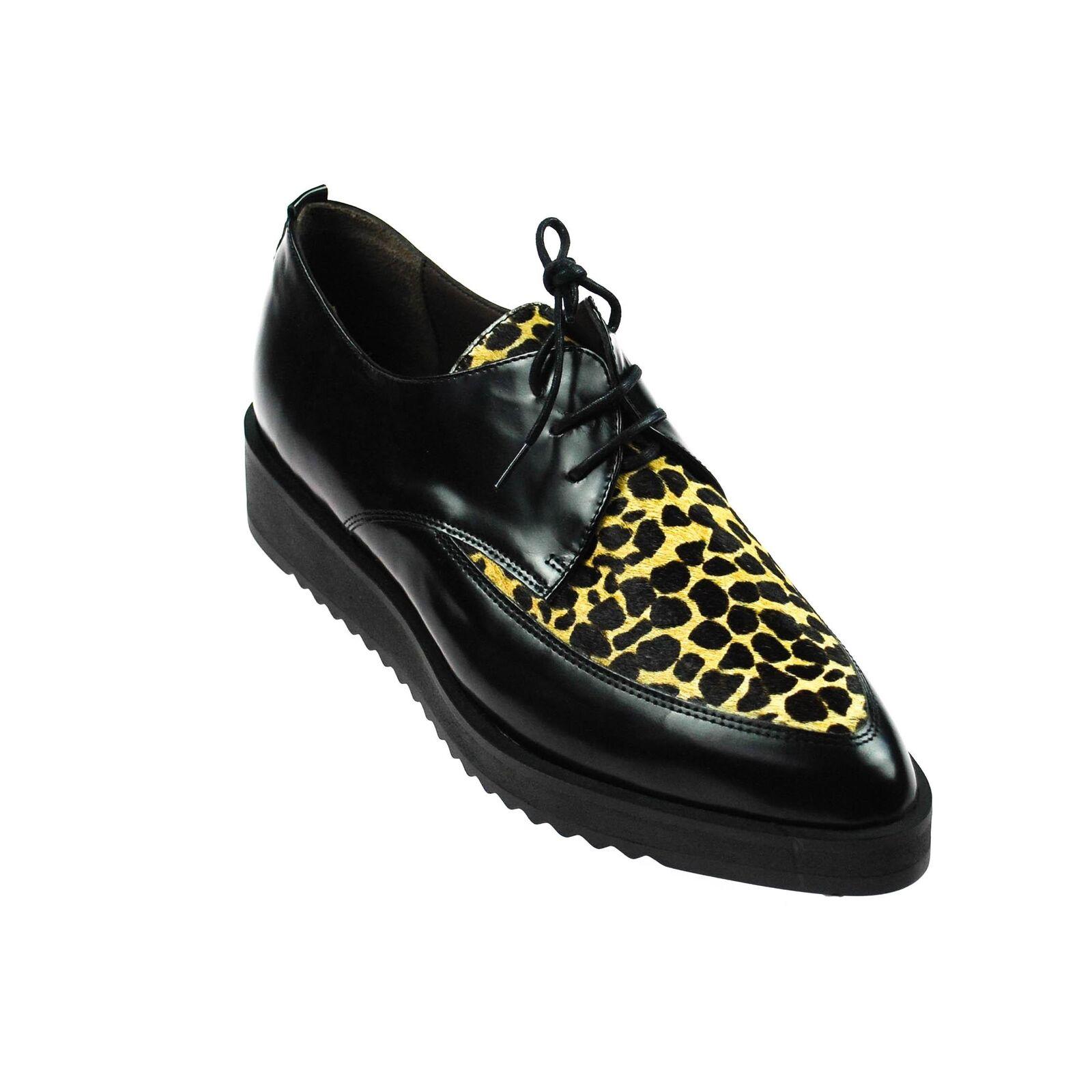 Perlato leopardo señora semi zapato cuero negro con patrones leopardo Perlato 834257
