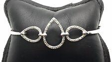 Sterling Silver 925 Triple Pear Sideways Lock Diamond Pave Bangle Bracelet