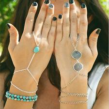 Slave Bronze Multi Silver Bracelet Bangle Chain Link Finger Rings Hand Harness