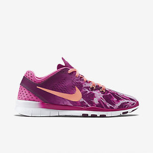 Details about New Nike Women's Free 5.0 TR Fit 5 Print (704695 603) FireberryMulberryBlack
