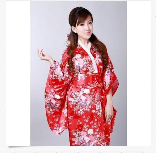 Red Japanese Kimono Yukata Geisha Best Dress Women Gown Haori Floral