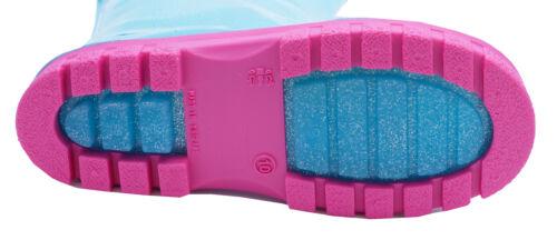 Bambine Bambini Blu Glitter Peppa Pig Stivali Di Gomma Stivali Di Gomma Da Pioggia Splash UK 4-10